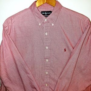 Ralph Lauren Red Houndstooth Shirt 17.5 36/37